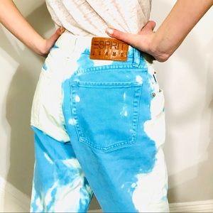 Vintage ESPRIT vibrant turquoise denim mom jean